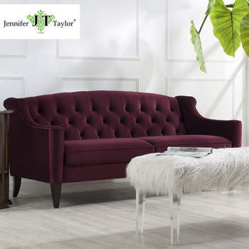 Living Room Furniture Modern Tufted Velvet Elegant Red Fabric Chesterfield Sofa