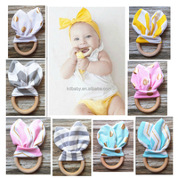 BPA free Safety handmade Rabbit ears nature wooden ring baby wooden teether