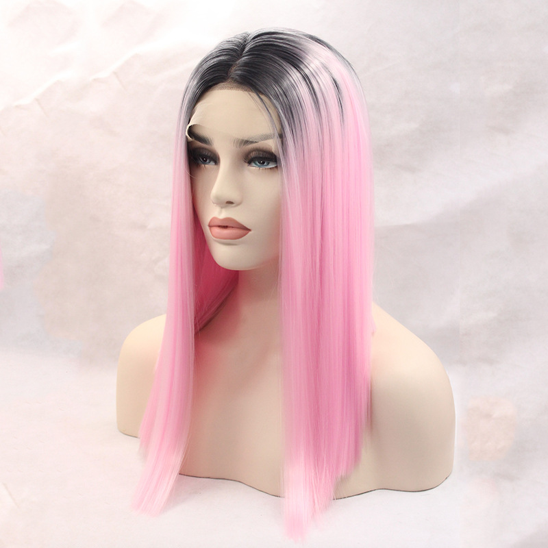 Alibaba.com / Cheap heat resistant ombre pink lace wig long light pink wig straight synthetic wig pink