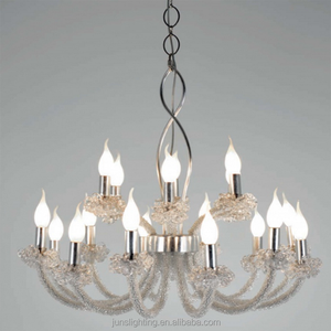 European luxury glass beads candle shape chandelier with five layers