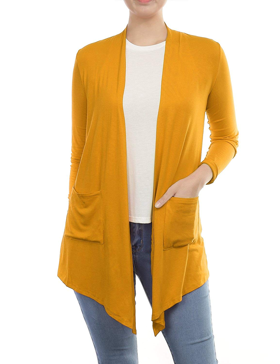 Get Quotations · BILY Women s Asymmetrical Front Long Sleeve Front Pockets  Light Sweater Cardigan 0ea57173d