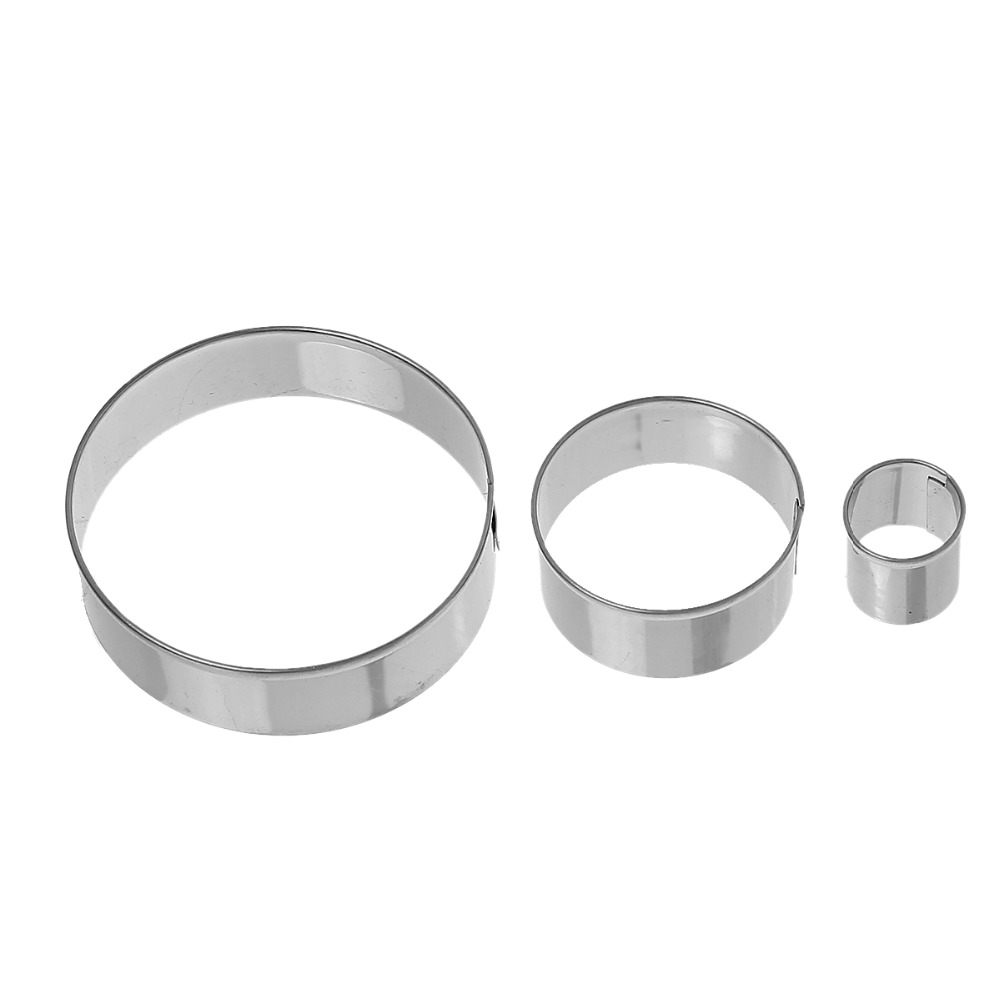 Round Silver Tone Stainless Steel Biscuit Cookie Cutters 3 Sizes Baking Mold
