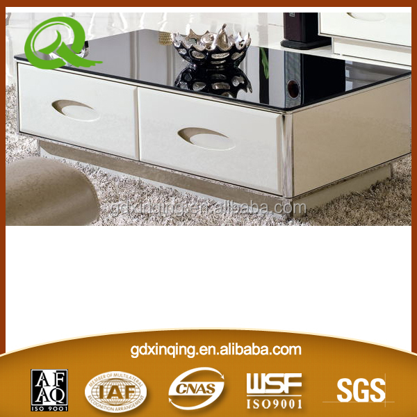Living room furniture MDF drawer with tempered glass top modern design new center table C354