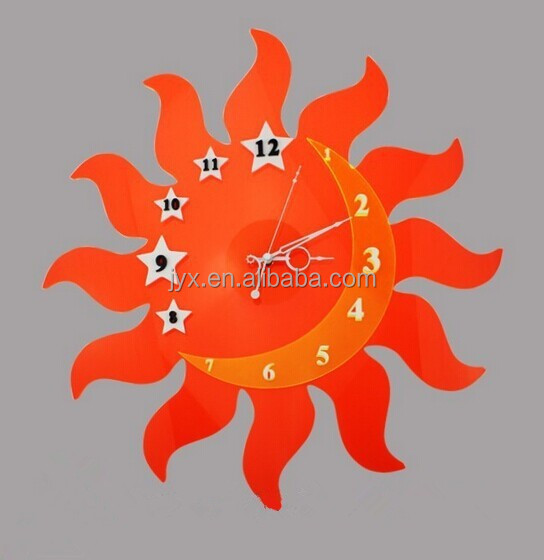 Acrylic Sun Shaped Wall Clock With Star And Moon Buy Sun Shaped