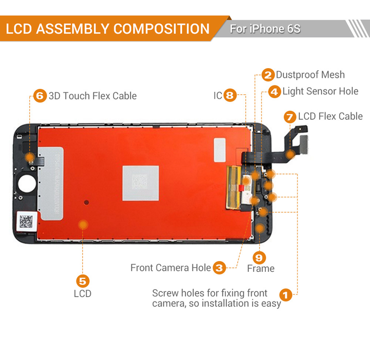 smartphones TIANMA LCD manufacturer for iphone 6s display