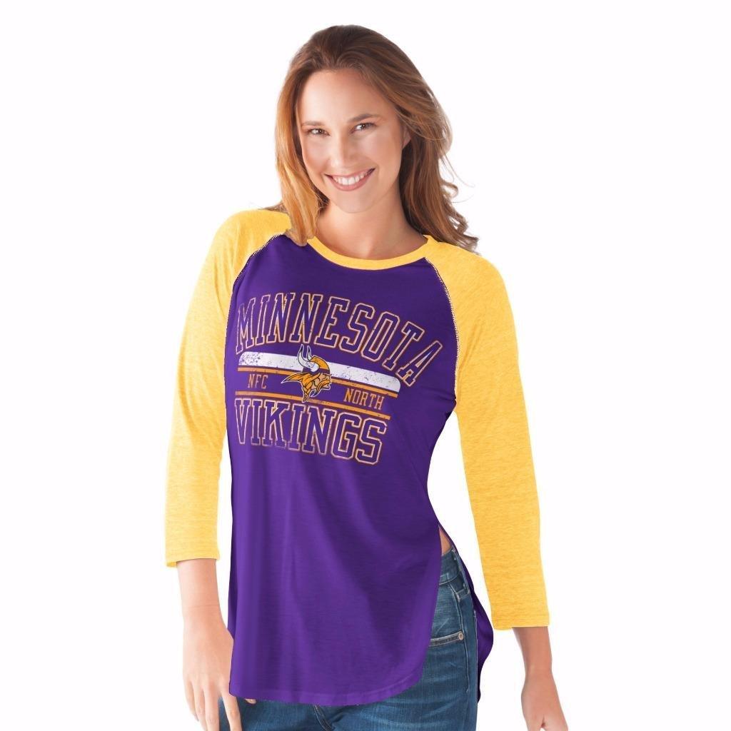 NFL Women's Hangtime Distressed Logo 3/4 Sleeve Tee (Medium, Minnesota Vikings)