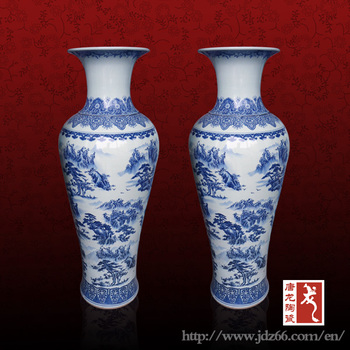 115cm A Large Pair Of Blue And White Chinese Floor Vases