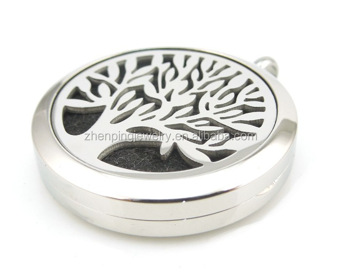 Round Silver Tree of Life (20-30mm) Aromatherapy / Essential Oils Stainless Steel Diffuser Lockets Necklace