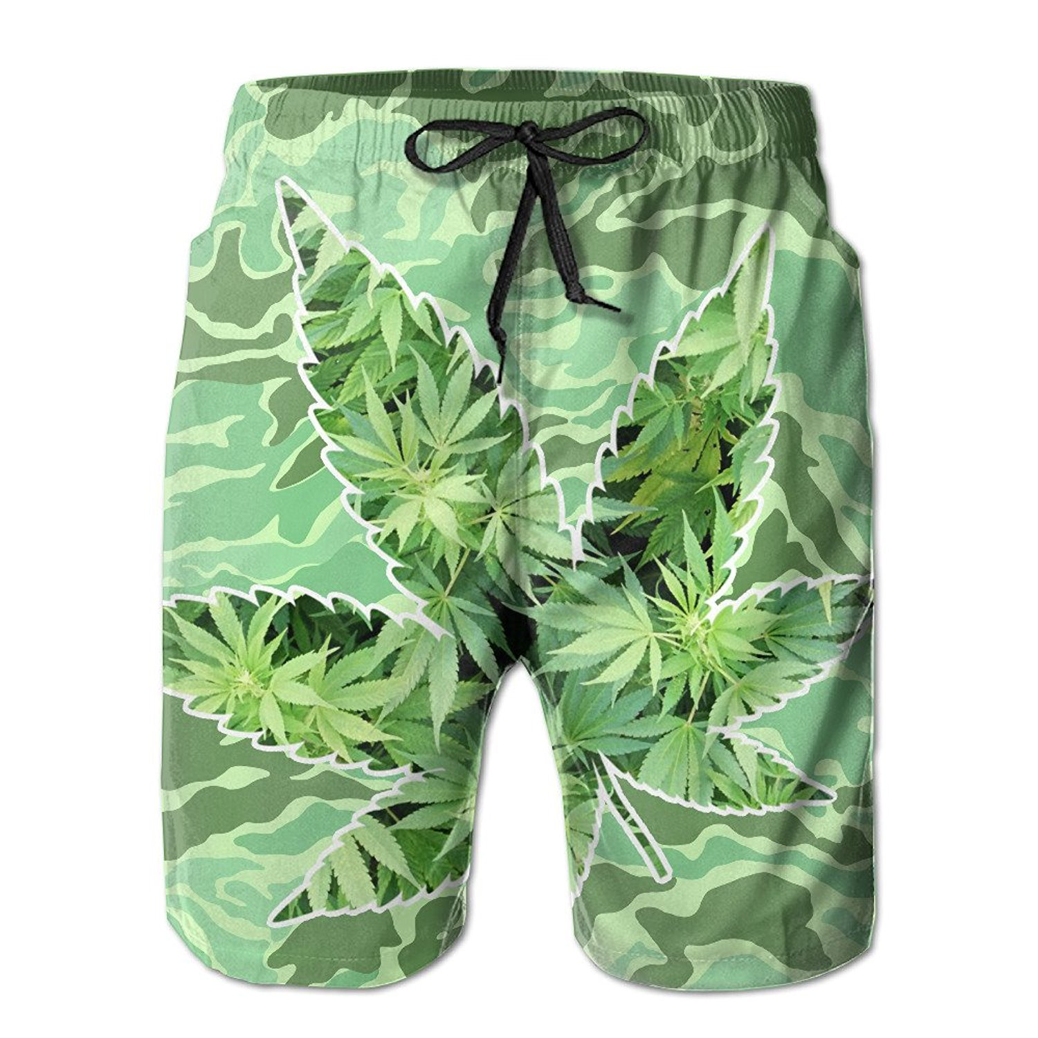 4ce8bf3683 Get Quotations · Men's Quick Dry Ganja Leaf Weed Smokers Beach Shorts Swim  Trunks Beach Board Shorts