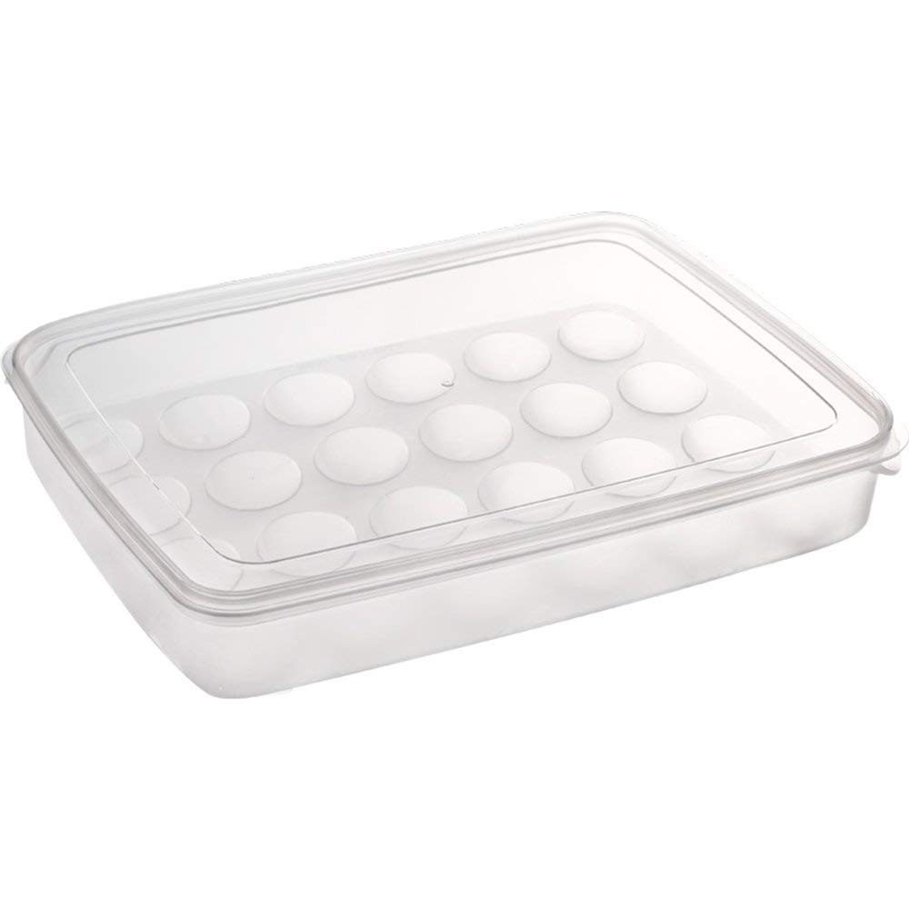 BANFANG Plastic 24 Eggs Holder - Large Capacity Egg Box Carrier Container Storage Case Eggs Tray Holder with Lid,White/Clear