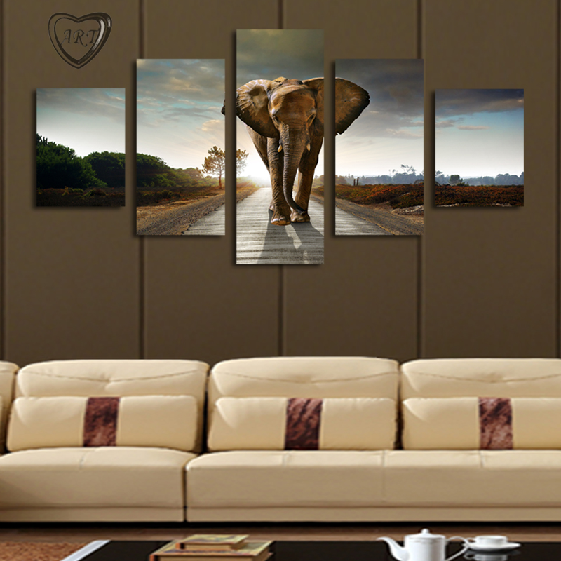 Large Wall Pictures For Living Room: 5 Pcs(No Frame) Elephant Painting Canvas Wall Art Picture