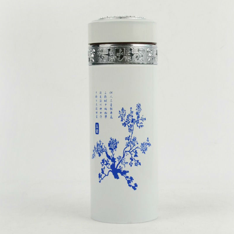 promotional factory price 350ml ceramic double wall insulated mugs with lid use decoration firing printing