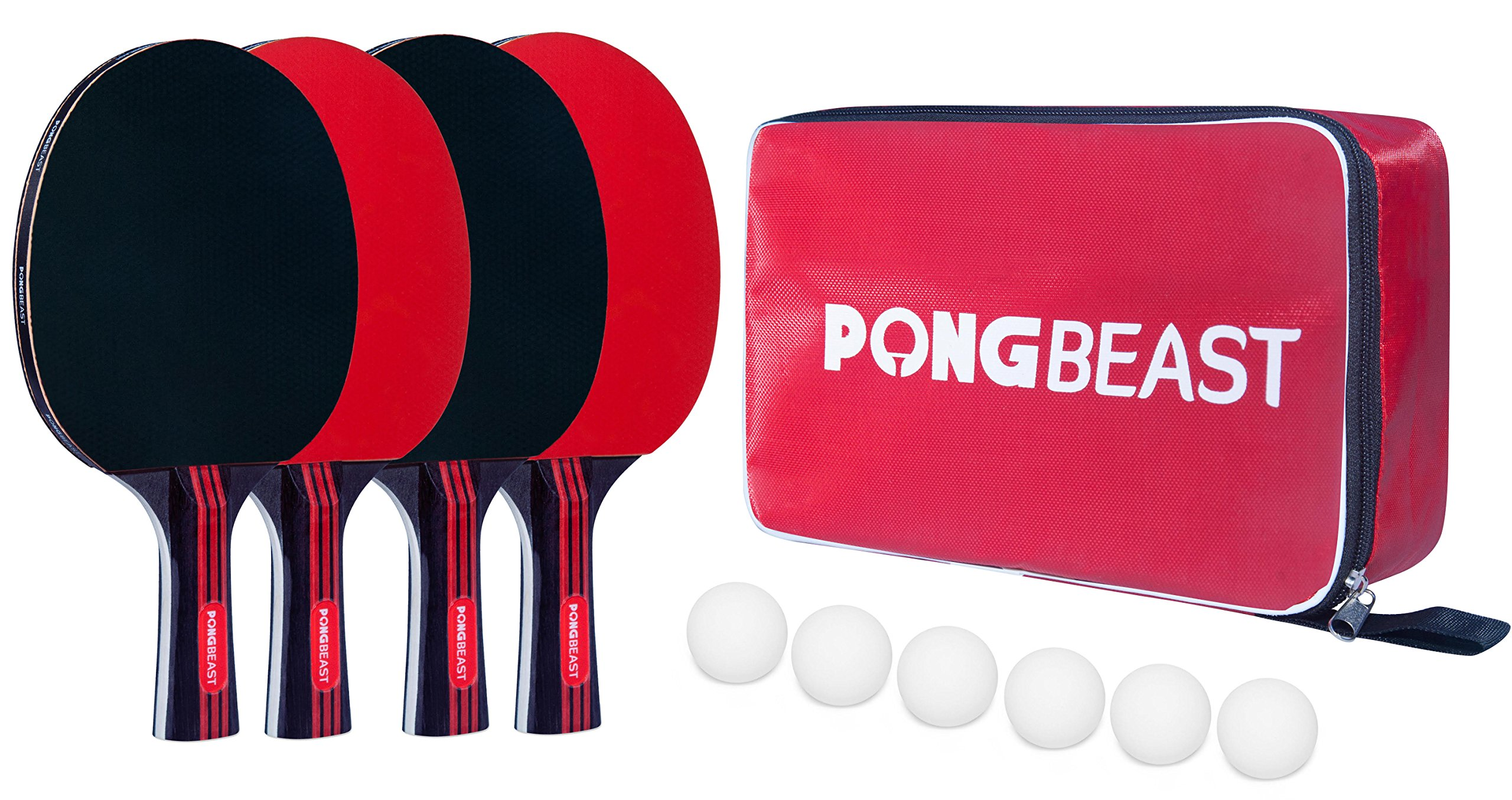 Ping Pong Paddle Set by PONGBEAST x 4-Player Premium Table Tennis Set x Includes 6 Table Tennis Balls and Carrying Case - Professional and Recreation Games - Indoor and Outdoor Ping Pong Paddles