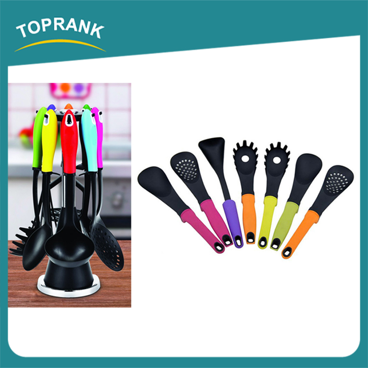Toprank BSCI Factory Promotion Colorful Nylon Cookware Gadgets Kitchen Tool Utensil Set With TPR Handle