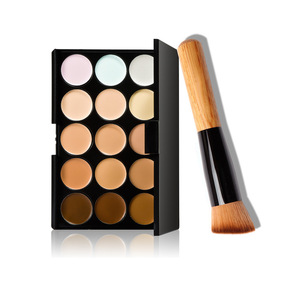 best selling products 15 Colors Concealer Foundation Cream Makeup Cosmetic Palette Set with Oblique Head Makeup Brush