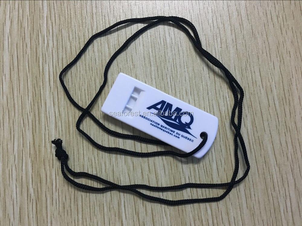 323ba15e14 Logotipo personalizado impressão de plástico branco plano de emergência  apitos com cordão