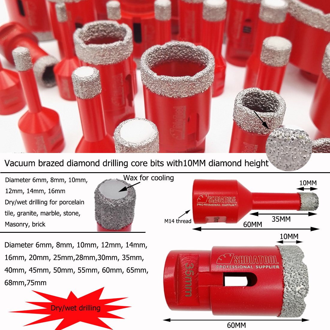 DRY DIAMOND DRILL BITS FOR PORCELAIN GRANITE TILE GLASS CERAMICS MARBLE 6mm-68mm