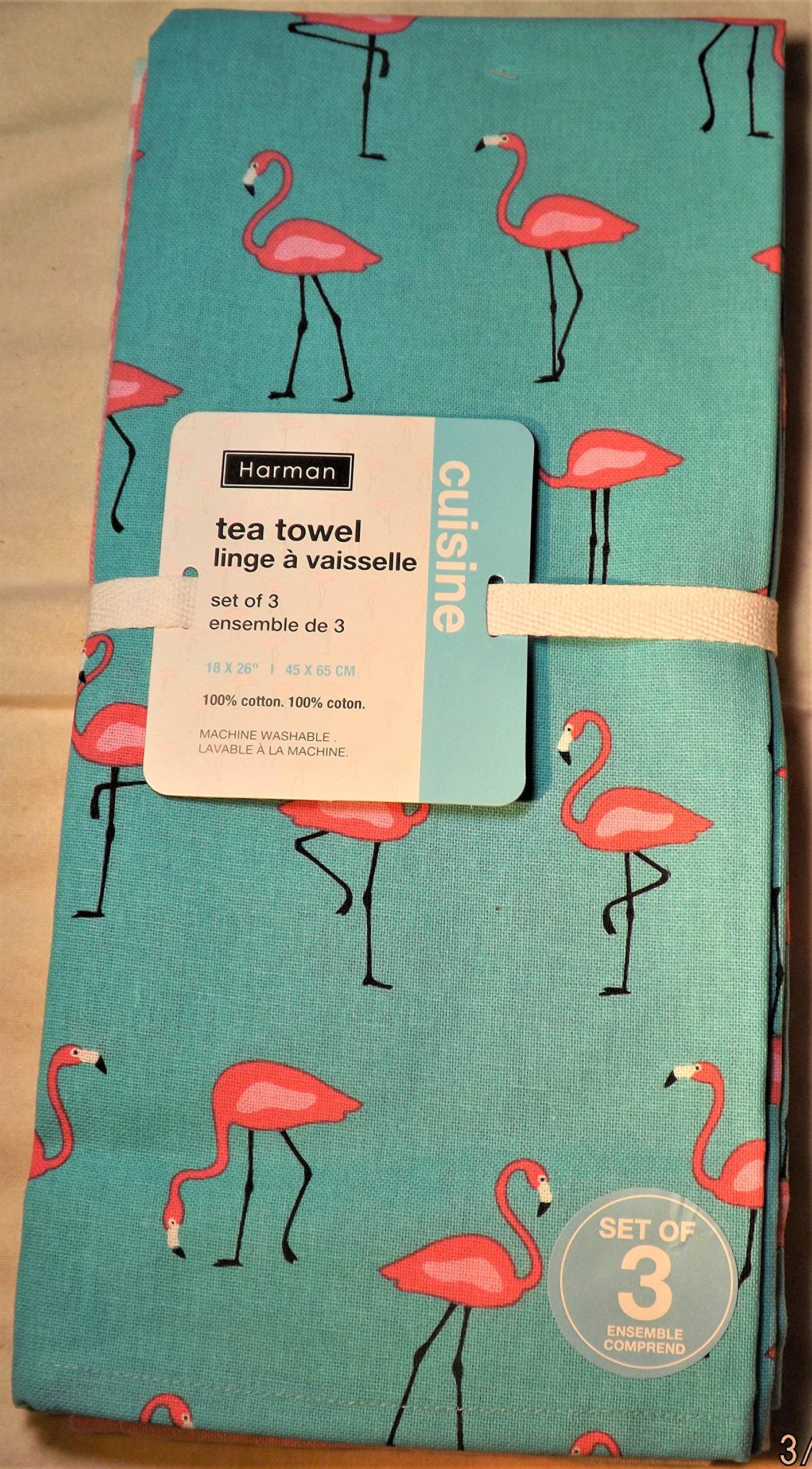 Get Quotations · Harman Cotton Kitchen Tea Towels Set Of 3 18x26 Fun  Stylish Patterns (Pink Flamingos