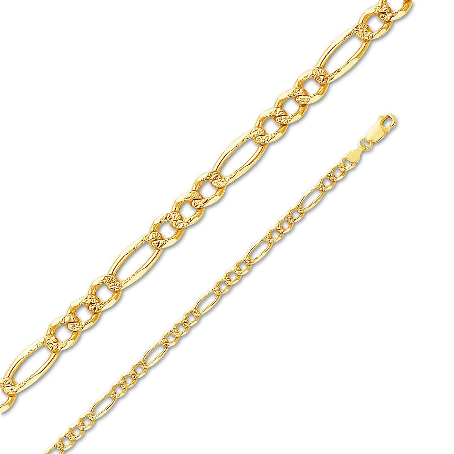 14k Yellow Gold Solid 4.5mm Figaro 3+1 Yellow Pave Diamond-Cut Chain Necklace