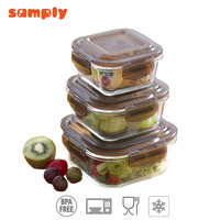 Low price of easy lock glass food container for wholesales