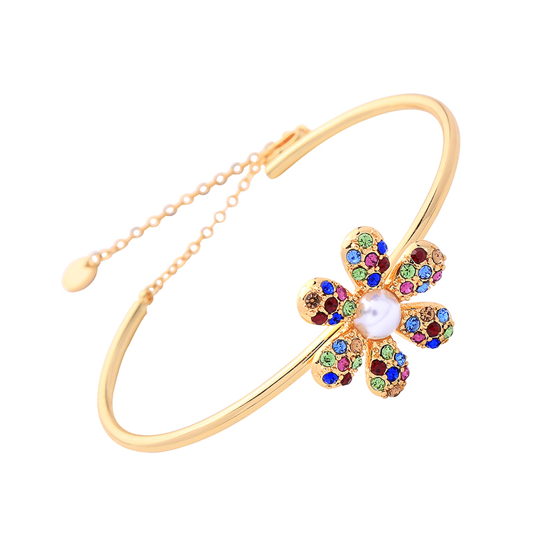 Ms006 Colorful Zircon Flower Designs Bangle Charm Bracelet Custom Copper Jewelry фото