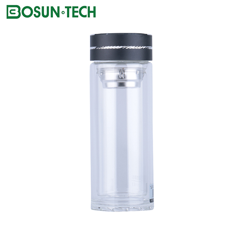 BOSUN Excellent Quality voss thermos glass refill vacuum flask water bottle with metal lid
