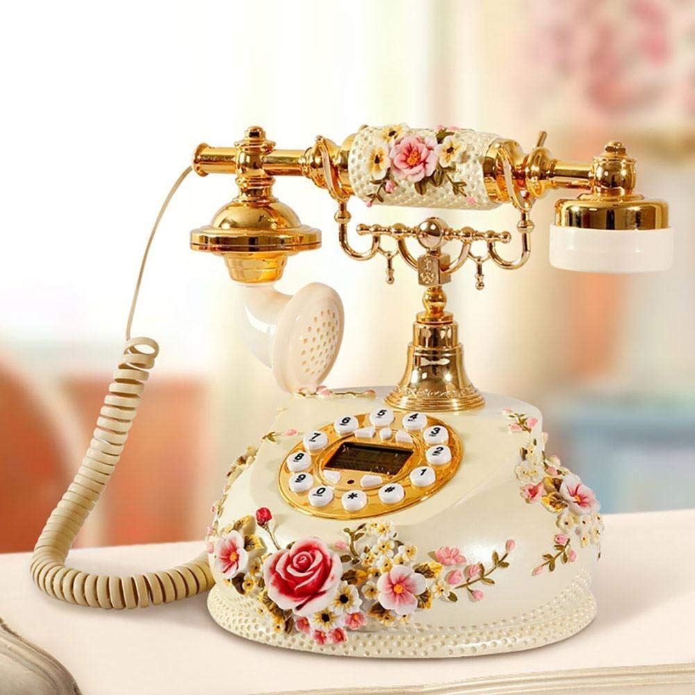 FACAIG Retro crafts, fixed-line phone, caller ID, personality, bedrooms, lounge, decorations, with buttons-pressure