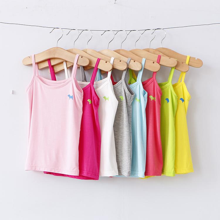 Fashion Summer children s clothing cartoon puppy girls tank top candy colored girls vest children singlet