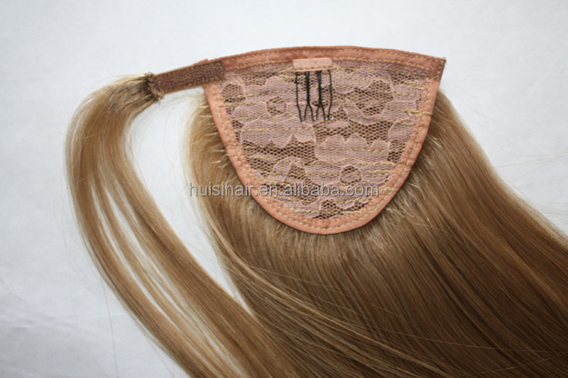 Trade assurance real mink virgin Brazilian hair wholesale 8A grade 16inch ponytail hair extension with clips