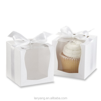"Party Shower Favor Gift Container 3.5"" White Cupcake Muffin Cake Boxes"