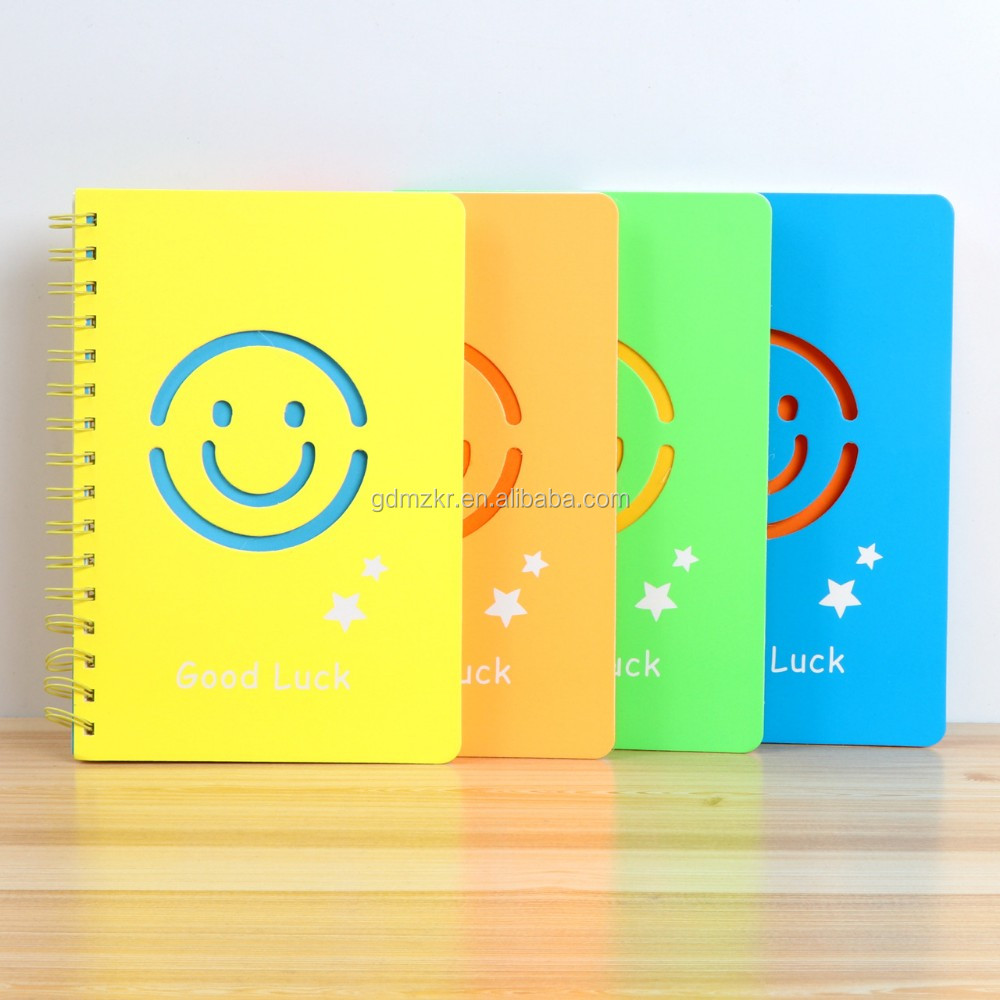 High quality plastic cover custom printed spiral school notebook wholesale