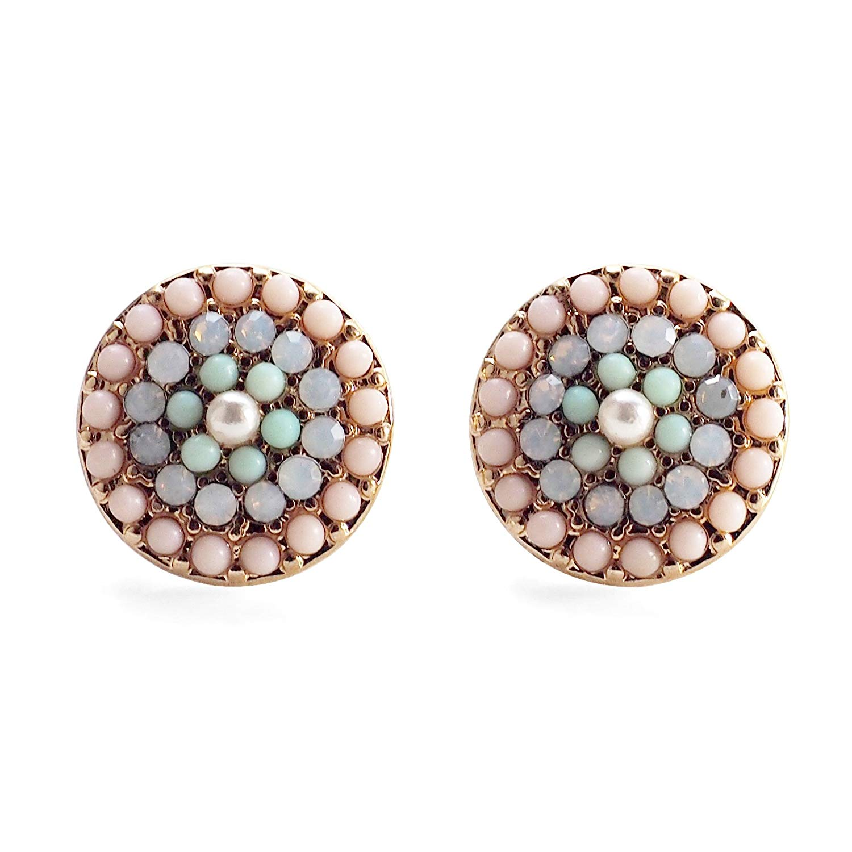 Miyabi Grace Women's Pink Rhinestone White Crystal Pearl Bead Invisible Clip On Super Lightweight Stud Earrings Gold tone