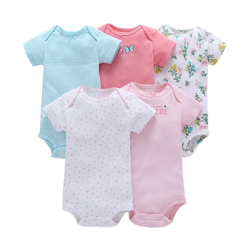 Wholesale Short Sleeve Infant Summer Bodysuit 5PCS Baby Clothes Clothing Cotton Baby Romper Set фото