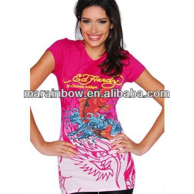 Lady' fashion slim-fitting T-shirts with body by sublimation printing technology