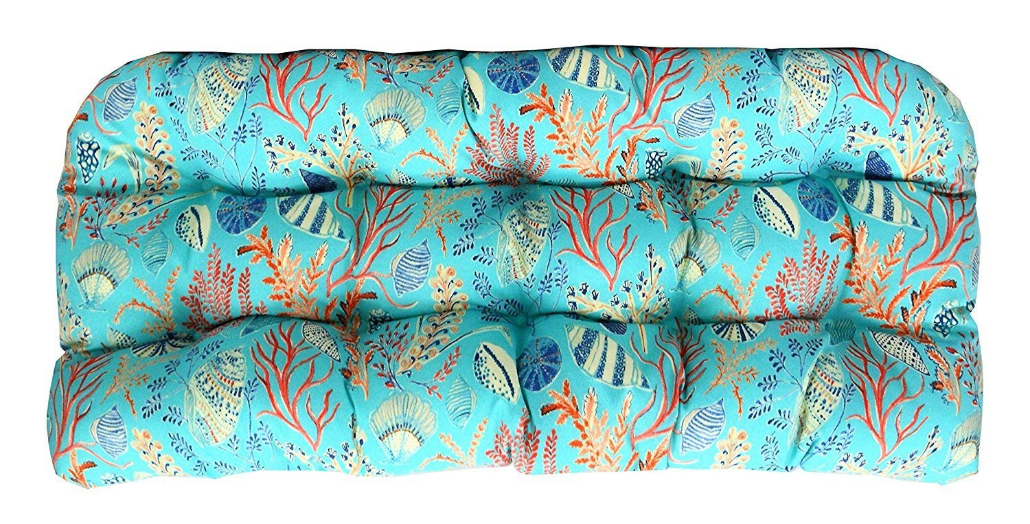 "RSH Decor Indoor Outdoor LARGE (22"" x 44"") Wicker Love Seat Settee Tufted Cushion ~ Blue, Peach, White, Cream, Orange, Coral, Red ~ Ocean Life ~ Coastal ~ Coral Reef"