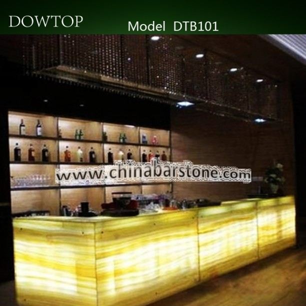 Highend design modern commercial glowing illuminated bright bar counter