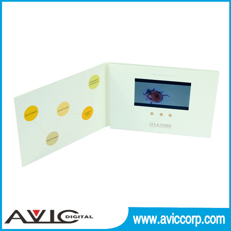 Invitation lcd advertising brochure booklet / promotional brochure/ video greeting card with Mini USB