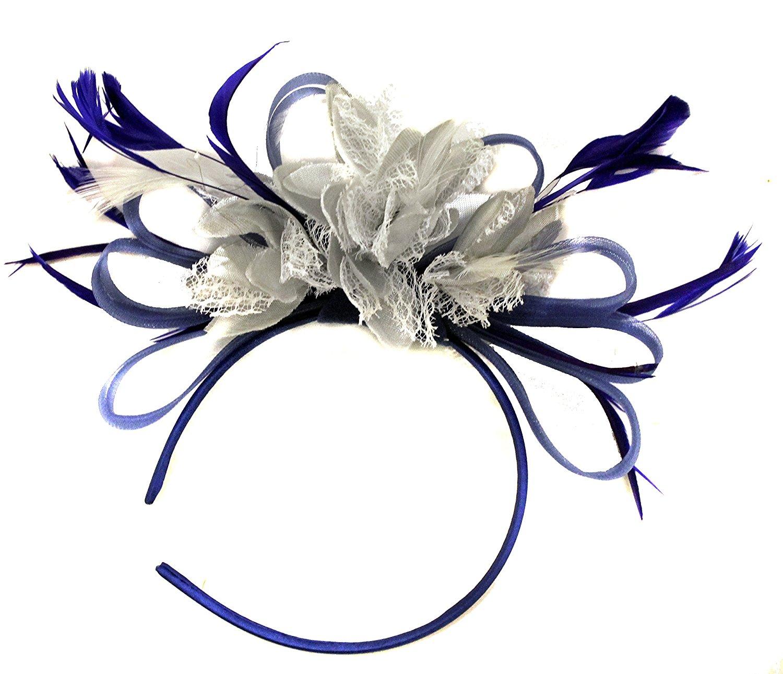f91a957601464 Get Quotations · Royal Blue Silver Net Hoop Feather Hair Fascinator  Headband Wedding Races