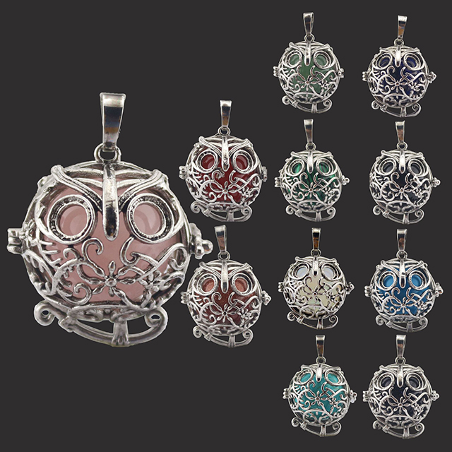 New fashion 2019 Hollow owl charm natural pink quartz stone pendant jewelry