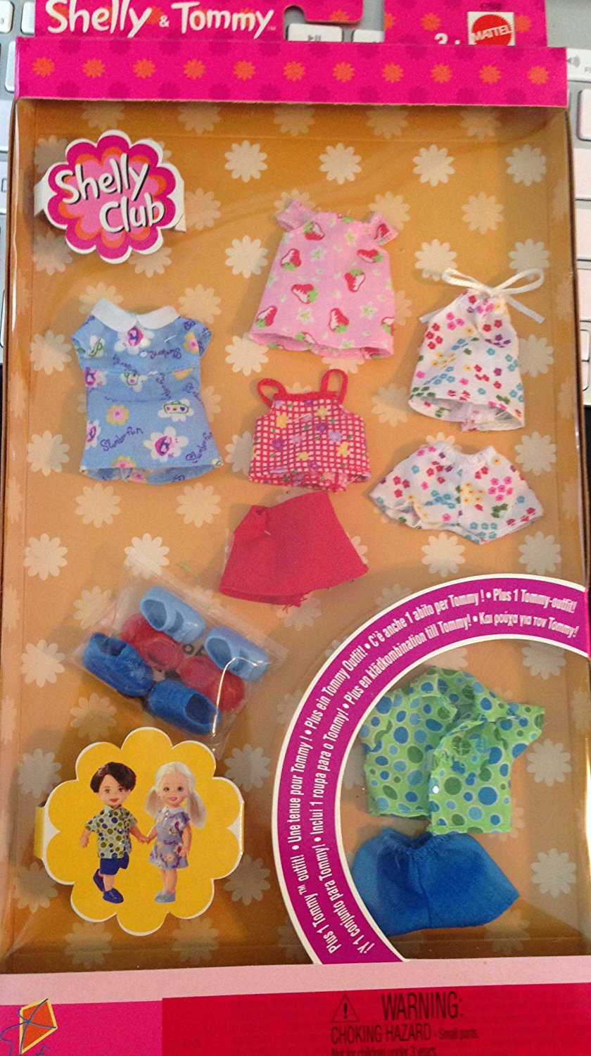 KELLY/Shelly CLUB FASHION Gift Set for KELLY Little Sister of BARBIE/Mattel/4 Outfits for KELLY & 1 Outfit for TOMMY/Sundress/Short Sets ASSORTMENT #1