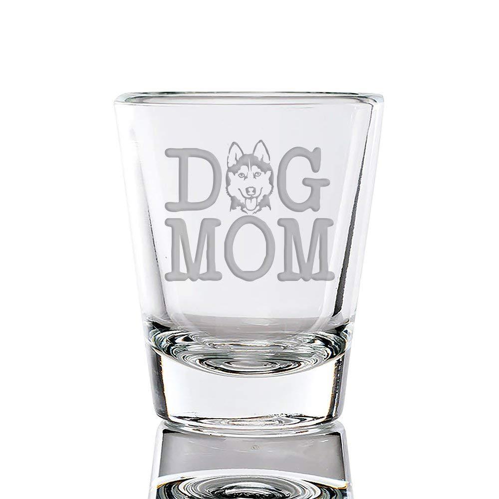 Dog Mom Siberian Husky Engraved Fluted Shot Glass