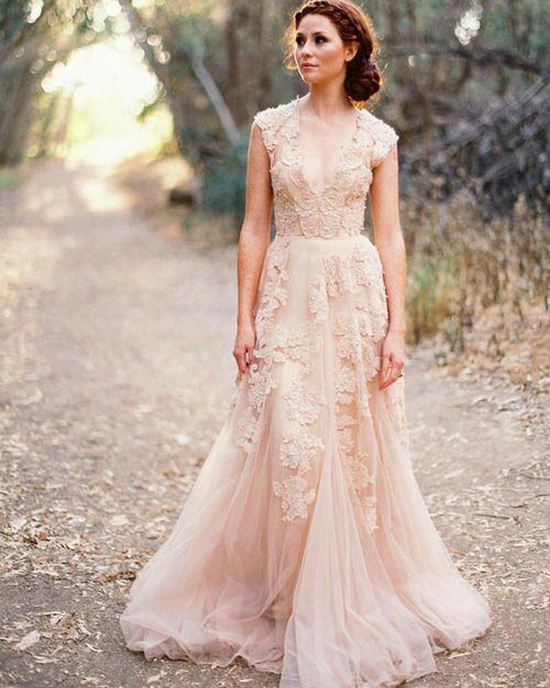 Graceful Sheath Wedding Dresses 2015 Summer A Line V Neck: V Neck Lace Wedding Dresses 2016 A Line Bridal Gowns