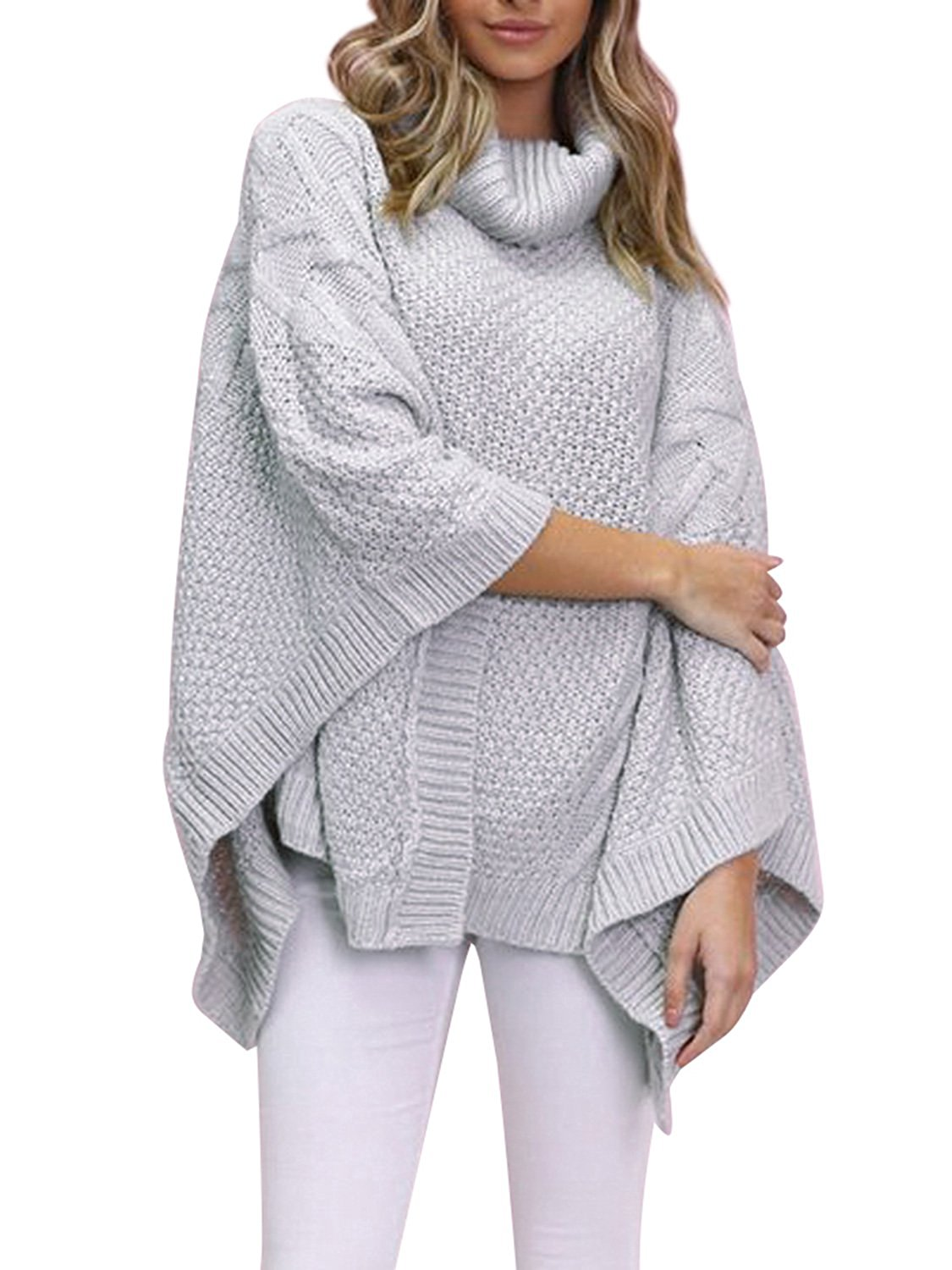 1390df52f Get Quotations · Simplee Womens Oversized Turtleneck Pullover Sweater  Winter Knitted Poncho Capes