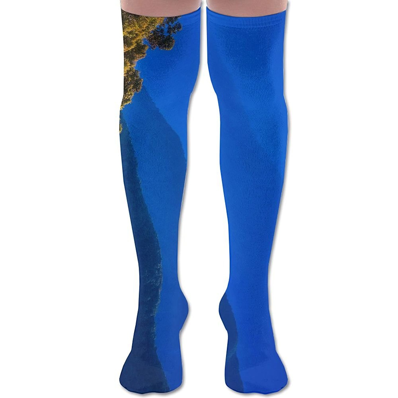 YISHOW Blue Sky Purple Nature Mountains Landscape Women's Fashion Over The Knee High Socks (60cm)