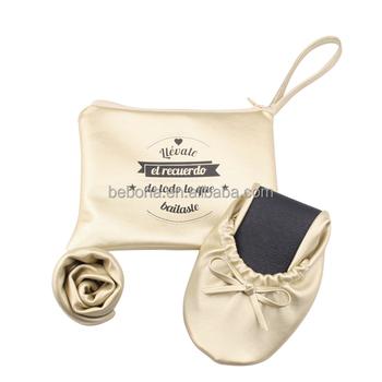 2018 de las mujeres de oro plegable zapatos planos zapatos de regalo