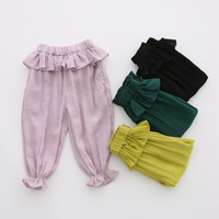 Hot Selling Clothes Children Girl's Solid Color Wide Leg New Design Lantern Pants