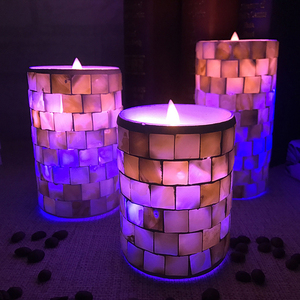 moving flame led RGB changing color mosaic wedding candle light