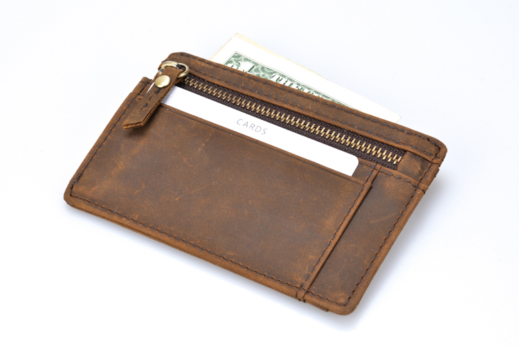 Wholesale high quality brown crazy horse leather rfid blocking mens card holder