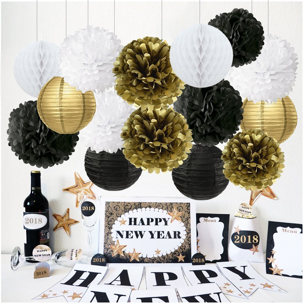 Get Quotations Black And Gold Party Decorations Tissue Paper Pom Poms Flowers Lanterns Honeycomb Ball