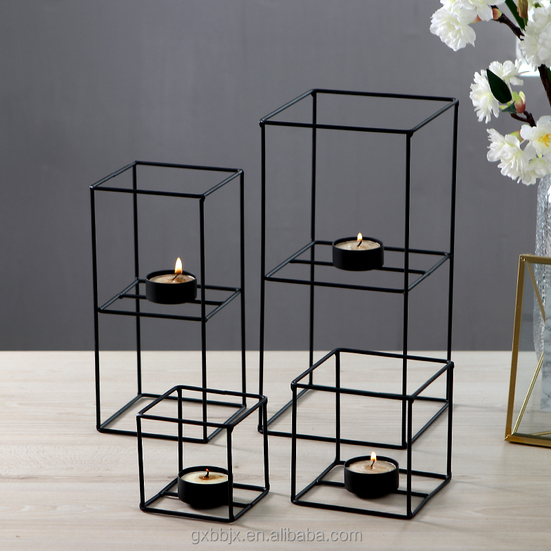 Wholesale Handmade Decorative Geometric Square Metal Tea Light Display TableTop Canterpiece Wedding Favors Candle Holder